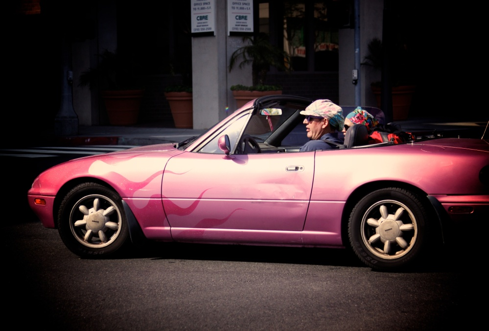 perfect pink-mobile with the perfect passengers for the ride!